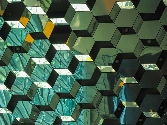 Glass Ceiling in the Harpa Concert Hall, Reykjavik