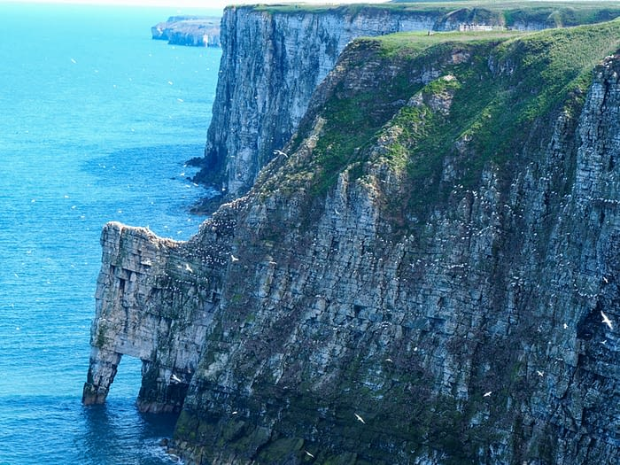 Sea arch in the cliffs at Bempton, East Yorkshire, England
