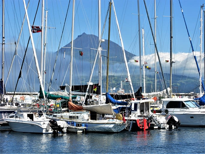 View of Pico from Horta port on Faial island, The Azores