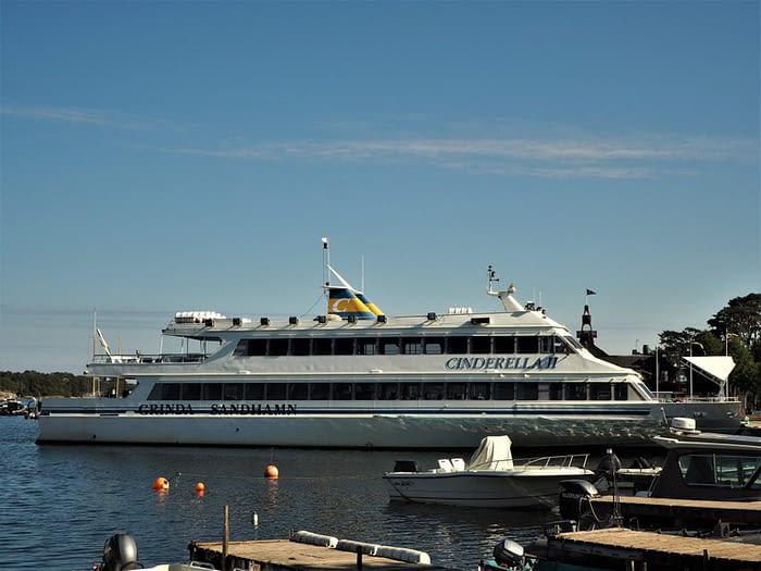 Tour boat at Sandhamn harbour in the Stockholm Archipelago, Sweden