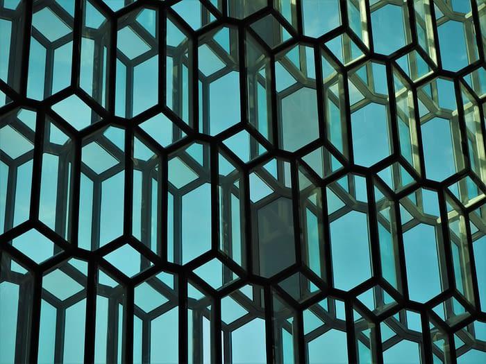 Glass Windows in the Harpa Concert Hall, Reykjavik, Iceland