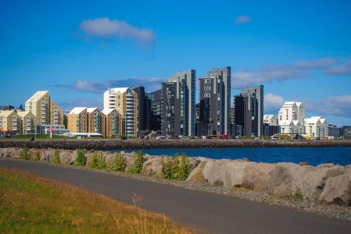 Modern Buildings along the Waterfront in Reykjavik, Iceland