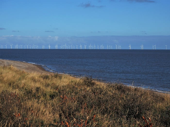 Offshore wind farm seen from Spurn Point, East Yorkshire, England