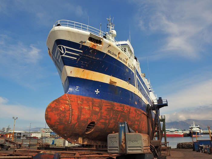 Ship waiting to be repainted in the Old Harbour at Reykjavik, Iceland