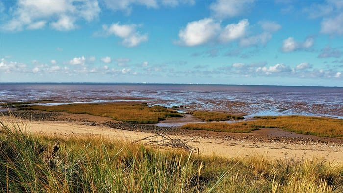 Dunes and shore at Spurn Point, East Yorkshire, England