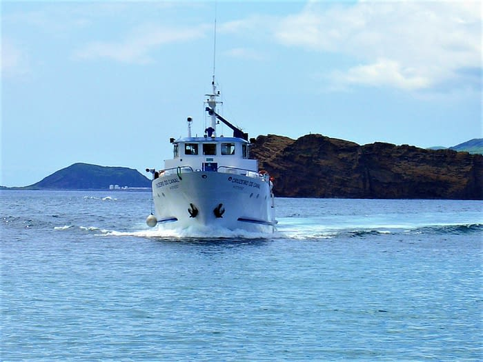 Ferry approaching Madalena on Pico Island, The Azores