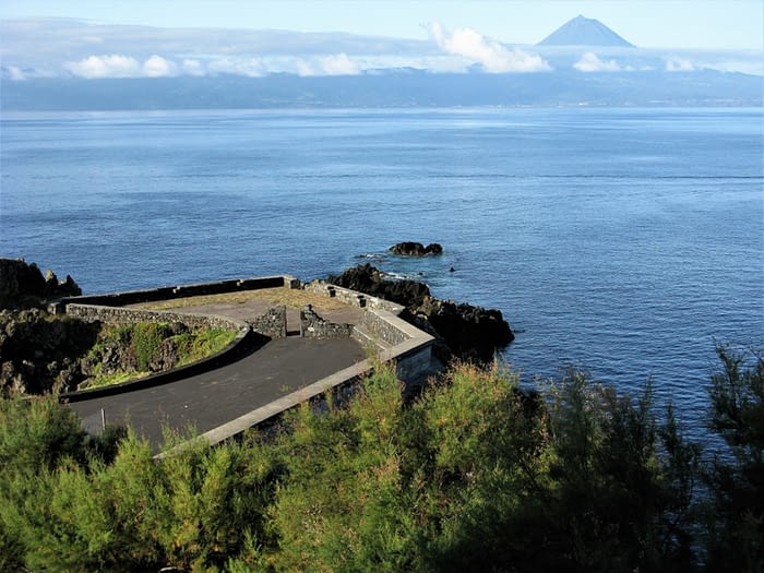 Viewpoint on Sao Jorge island and distant Pico, The Azores