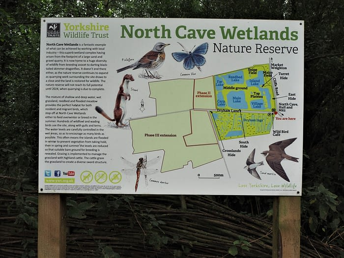 Map of North Cave Wetlands reserve, showing planned future developments, East Yorkshire, England