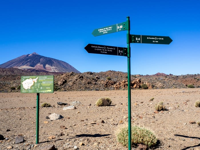 Meeting point of trails in the Teide National Park, Tenerife