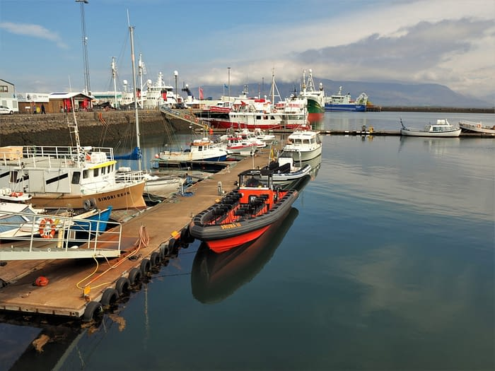 Boats in the Old Harbour at Reykjavik, Iceland