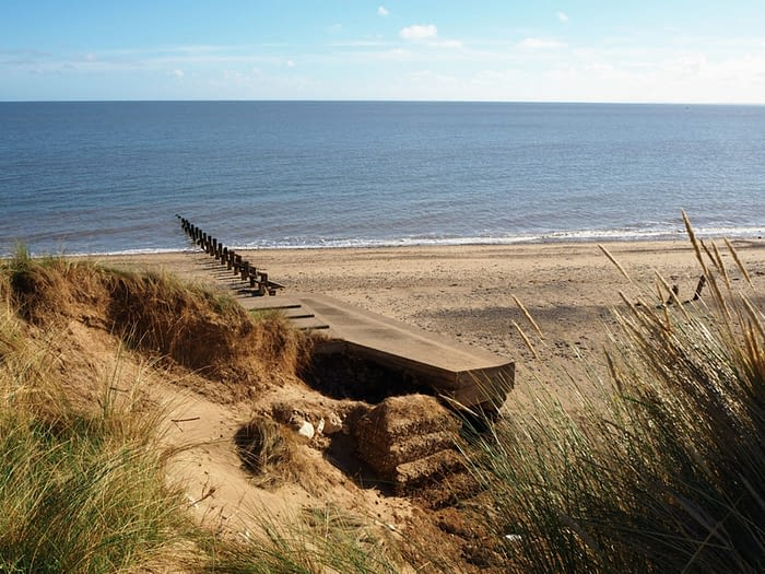 Sandy shore at Spurn Point nature reserve, East Yorkshire, England