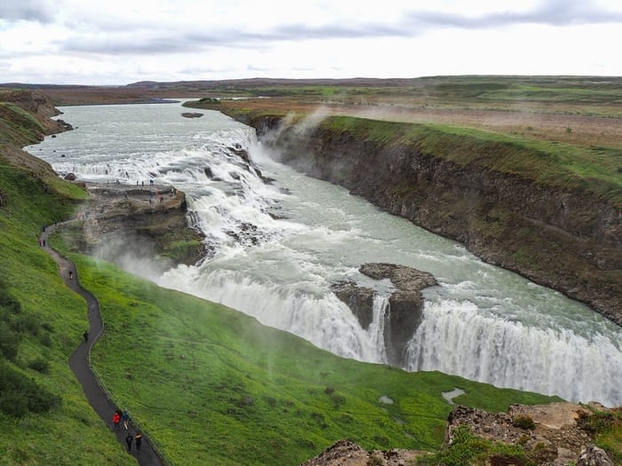 View over Gullfoss Waterfall, Iceland