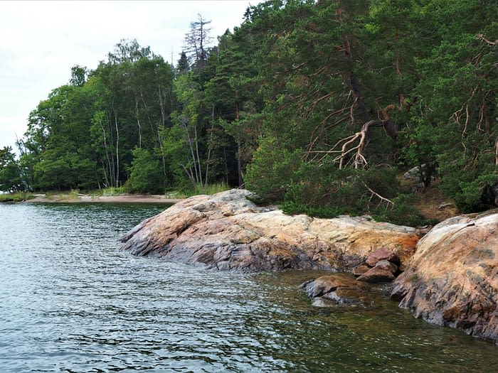 Rocky coast on Grinda Island in the Stockholm Archipelago, Sweden