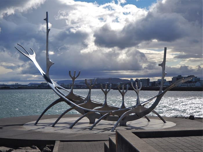 Sun Voyager Sculpture, Reykjavik, Iceland, on a cloudy day