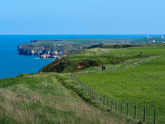 View towards Flamborough from Bempton Cliffs, East Yorkshire, England