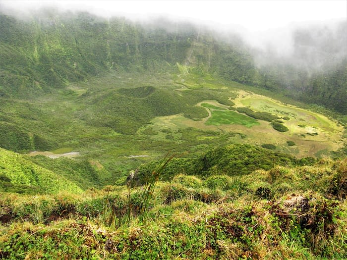 Volcanic crater on Faial island, The Azores